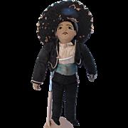 SALE Vintage Cloth Doll South of the Border Senor in Black Sombrero