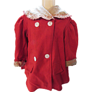 Victorian Edwardian Era Child's Red Wool Coat with Embroidered Linen Collar
