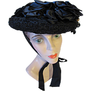 SALE Victorian Era Mourning Hat in Black in Net, Lace and Velvet
