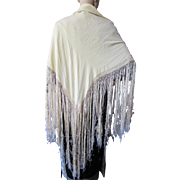 Gorgeous Silk Shawl Flapper Style in Butter Tone with Cascades of Fringe