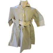 SALE Child's Dress 1920 1930 Style in Blue and White Check