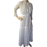 SALE Edwardian Gibson Girl White Summer Dress with Intricate Embroidery