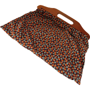Old Fashioned Work Bag Sewing Bag in Brown and Orange Feed Sack Like Fabric
