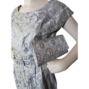 SALE 1960 Style Sheath Dress in Ice Blue Brocade with Matching Envelope Purse