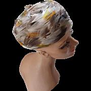 SALE Mid-Century Swirled Feather Hat in Autumn Tones Pillbox Style 1960's
