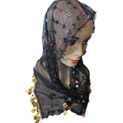 SALE Sparkly Black Net Head Scarf Mantilla or Shawl with Sequins and Gold Tone Palliards
