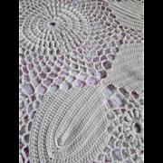 SOLD Crochet Bed Spread in White Open Design Fringed Edges