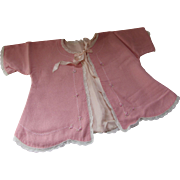 SALE Charming Baby or Large Doll Tied Top in Sweet Pink Embroidery