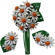 SALE Daisy Brooch and Earring Set with White Daisies with Orange Center and Green Leaves