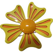 SALE Mod Style Flower Pin Citrus Color Enamel in Orange and Yellow