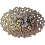 SOLD Celluloid Flower Brooch in Intricately Molded Ivory Tone