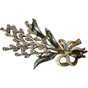 Delicate Flower Spray Brooch of Rhinestones with Painted Bow and Leaves