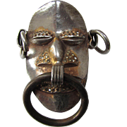 Pomerantz Brooch Man's Mask in Metal