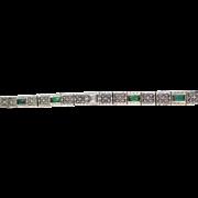 SALE Incredible Diamond & Emerald Art Deco Bracelet 14K