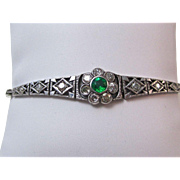 SALE Extraordinary Emerald & Diamond Victorian Bracelet Platinum/14K