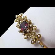 SALE Rare Rhodolite Garnet Antique Edwardian English Bangle Bracelet 15K