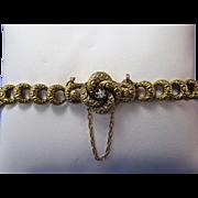 SALE Antique Victorian 14K Yellow Gold & Diamond Link Bracelet