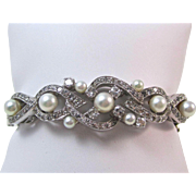 SALE Stunning Cultured Pearl & Diamond Vintage Bangle Bracelet 14K