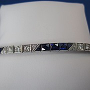 SALE Fabulous Sapphire & Diamond Art Deco Bracelet