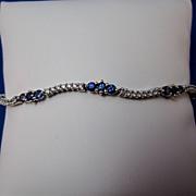 SALE Sapphire & Diamond Vintage Bracelet 14K