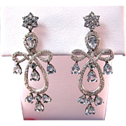 SALE Stunning Aquamarine 124 Diamond Chandelier Earrings 18K