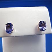 SALE Tempting 5.70 Tanzanite Vintage Stud Earrings 14K