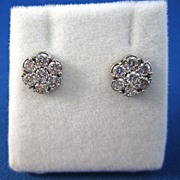 SALE Twinkling 1.00 Diamond Floral Cluster Earrings 14K