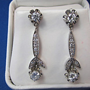 SALE Exquisite Diamond Dangle Art Deco Vintage Earrings 14K
