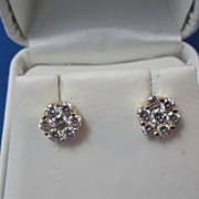 SALE Delightful Diamond Cluster Vintage Earrings 14K