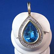 SALE Enormous 15 Carat Blue Topaz & Diamond Vintage Enhancer/Pendant