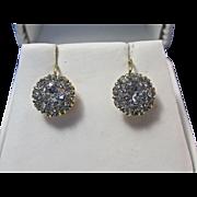 SALE Darling Floral Cluster English Paste Vintage Earrings 9K