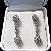 SALE Fabulous Diamond Dangle Vintage Estate Earrings Platinum