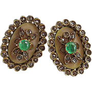SALE Exquisite Emerald & Diamond Enameled Florentine Finish Antique Victorian Earrings 18K