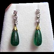 SALE Rare Emerald & Diamond Art Deco Dangle Earrings 14K