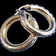SALE Large Vintage Yellow Gold Hoop Earrings 14K