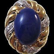 SALE Fabulous Lapis Lazuli Diamond Earrings 14K
