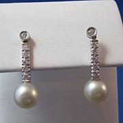 SALE Diamond & Cultured Pearl Dangle Vintage Earrings