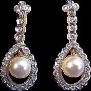 SALE Gorgeous Cultured Pearl & Diamond Vintage Dangle Earrings 18K