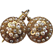 SALE Amazing Cultured Pearl & Diamond Victorian Antique Earrings 14K