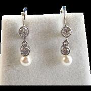SALE Elegant Akoya Cultured Pearl & .52 Diamond Dangle Vintage Earrings