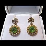 SALE Delightful Peridot & Cultured Pearl Dangle Earrings 10K