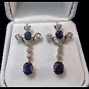 SALE Magnificent 2.76 No Heat Sapphire Diamond Dangle Art Deco Earrings 18K
