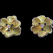 SALE Perfect Sapphire & Diamond Floral Vintage Earrings 18K