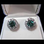 SALE Exquisite Green Tourmaline Diamond Vintage Earrings 14K