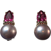 SALE Pink Tourmaline & Cultured Pearl Vintage Earrings 14K