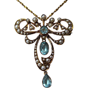 SALE 2.25 Aquamarine Downton Abbey Antique English Victorian Brooch/Pendant 15K