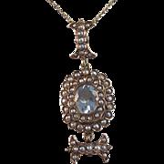 SALE Precious Aquamarine & Seed Pearl Victorian English Pendant