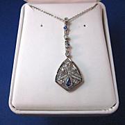 SALE Timeless Sapphire & Diamond Platinum Vintage Pendant