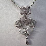 SALE Sweetest Diamond Vintage Dangle Pendant 18K