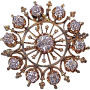 SALE Glorious 1.55 Diamond Victorian Wedding Brooch/Pendant 14K